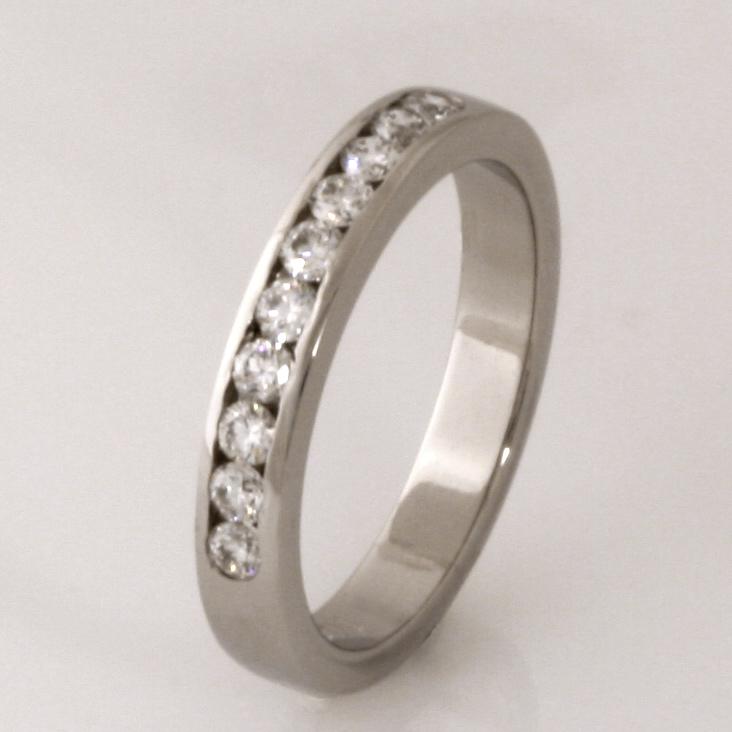 Handmade ladies palladium diamond set wedding ring