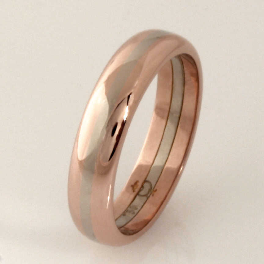 Handmade gents 18ct rose and white gold wedding ring