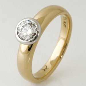 Handmade ladies 18ct yellow gold and platinum diamond engagement ring