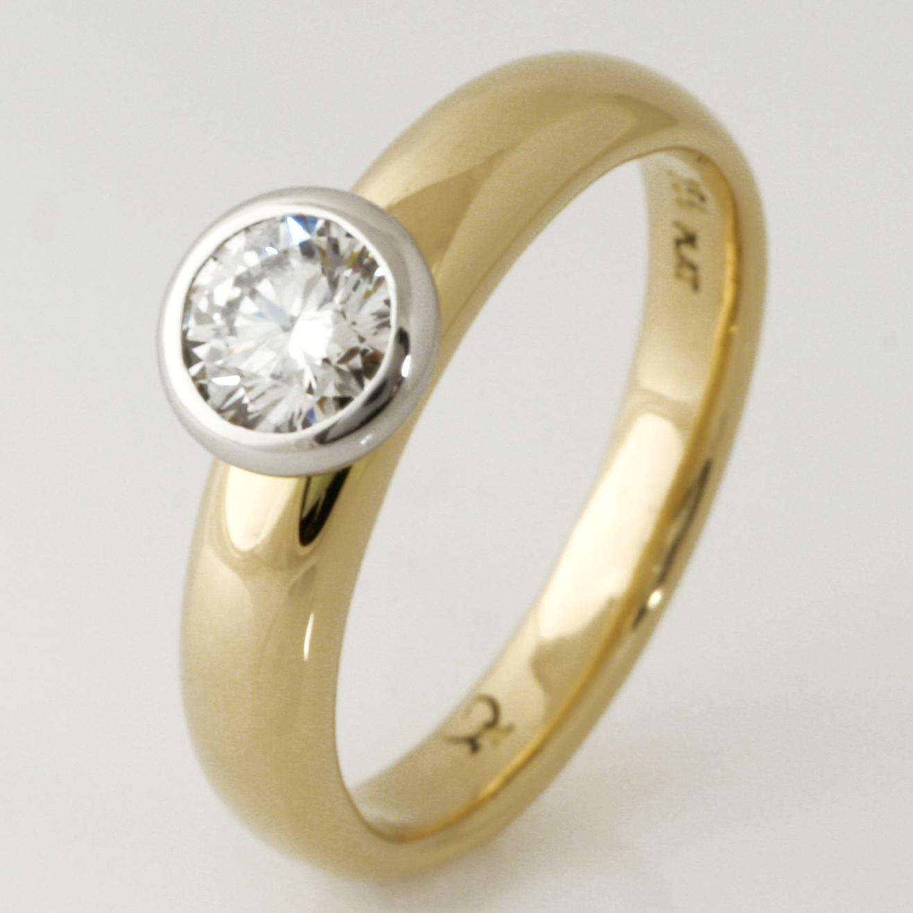 Handmade ladies 18ct yellow gold and platinum diamond engagement ring