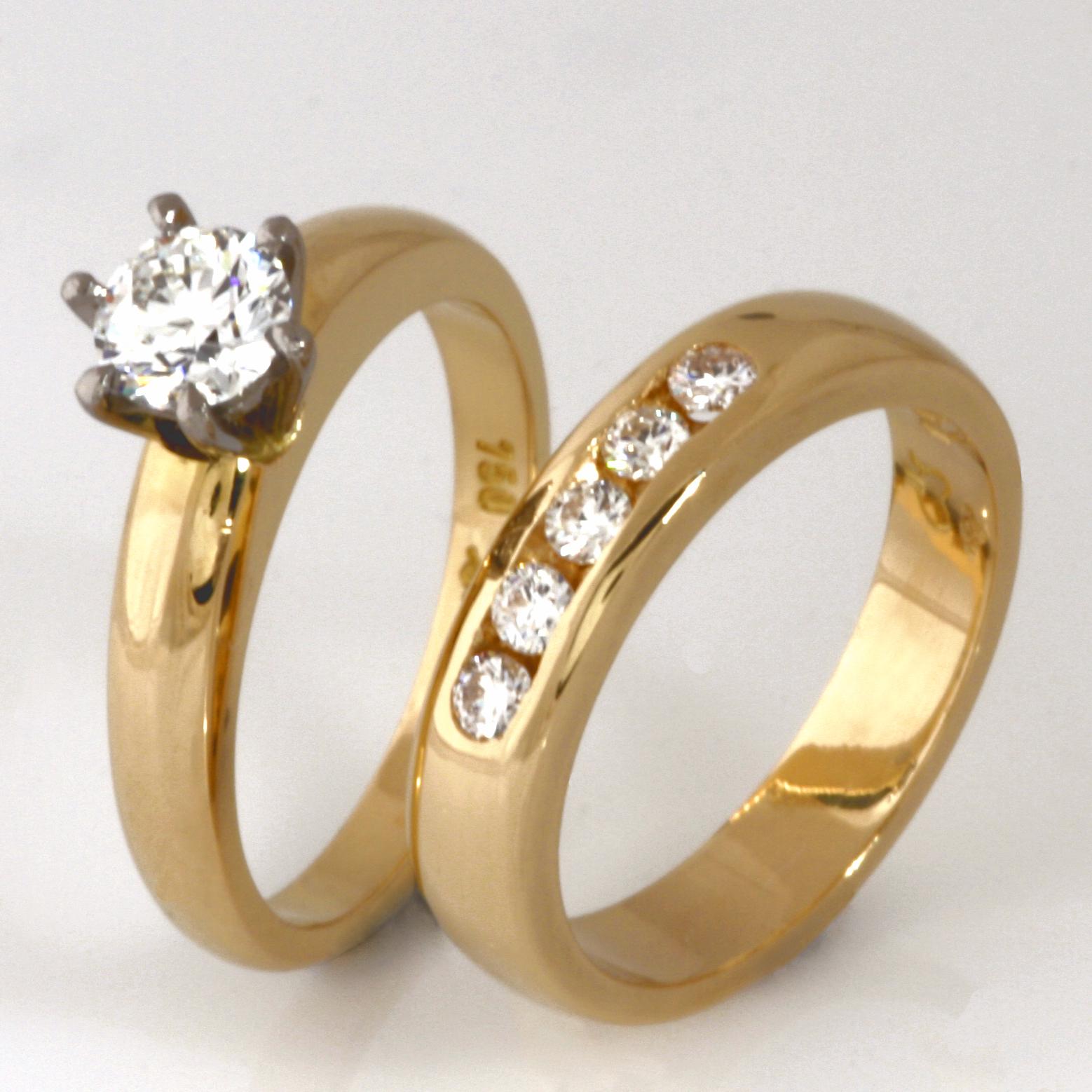Handmade ladies 18ct yellow gold diamond wedding ring