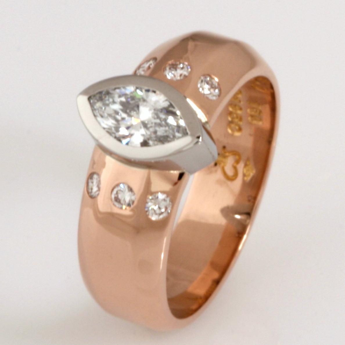 Handmade 18ct rose gold diamond engagement ring