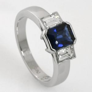 Handmade palladium and platinum Ceylon sapphire and diamond ring