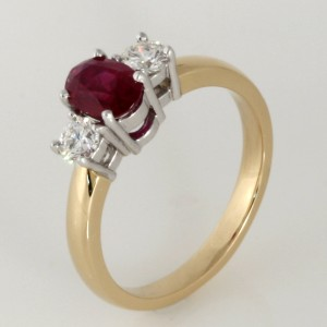 18ct yellow and white gold ruby and diamond ring