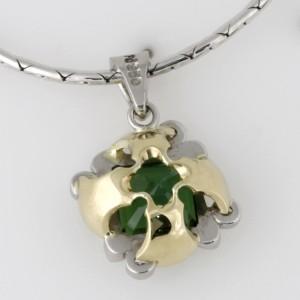 Handmade ladies 18ct green gold and palladium green tourmaline pendant