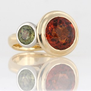 Handmade ladies palladium and 18ct yellow gold spessartite and dementoid garnet ring