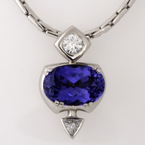 Handmade ladies palladium and 18ct yellow gold Tanzanite, Asteios diamond and trilliant cut diamond pendant