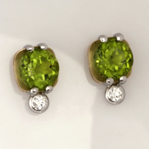 Handmade ladies 18ct yellow gold and palladium peridot and diamond earrings