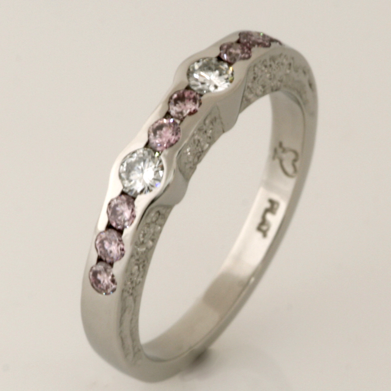 Handmade ladies white and pink diamond platinum ring