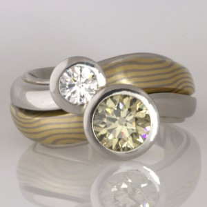 Handmade ladies platinum and 18ct green and white gold Mokume Gane with one green and white EightStar diamond ring