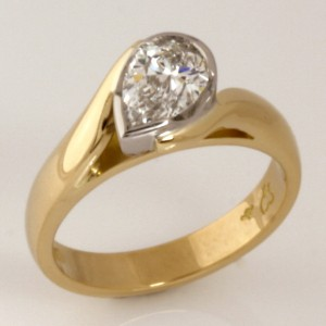 Handmade ladies 18ct yellow gold and palladium pear shape diamond engagement ring