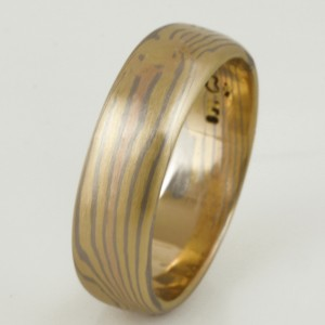Handmade ladies 18ct yellow, rose and white gold Mokume Gane ring