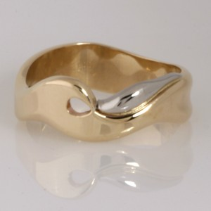 Handmade gents 14ct yellow gold and palladium Wave wedding ring