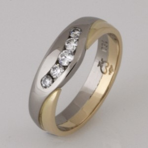 Handmade 18ct yellow and white gold diamond eternity ring