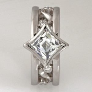 Handmade ladies palladium 'Tycoon Cut' and brilliant cut diamond engagement ring