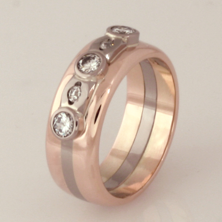 Handmade 9ct light rose gold and 18ct white gold ladies diamond ring