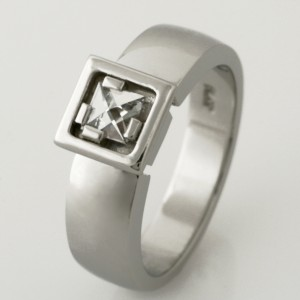 Handmade ladies platinum 'Context' cut diamond engagement ring