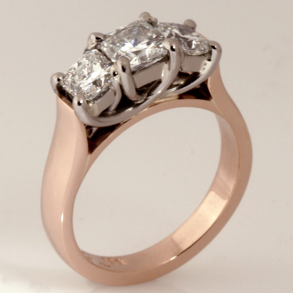 Handmade ladies 18ct peach gold diamond engagement ring