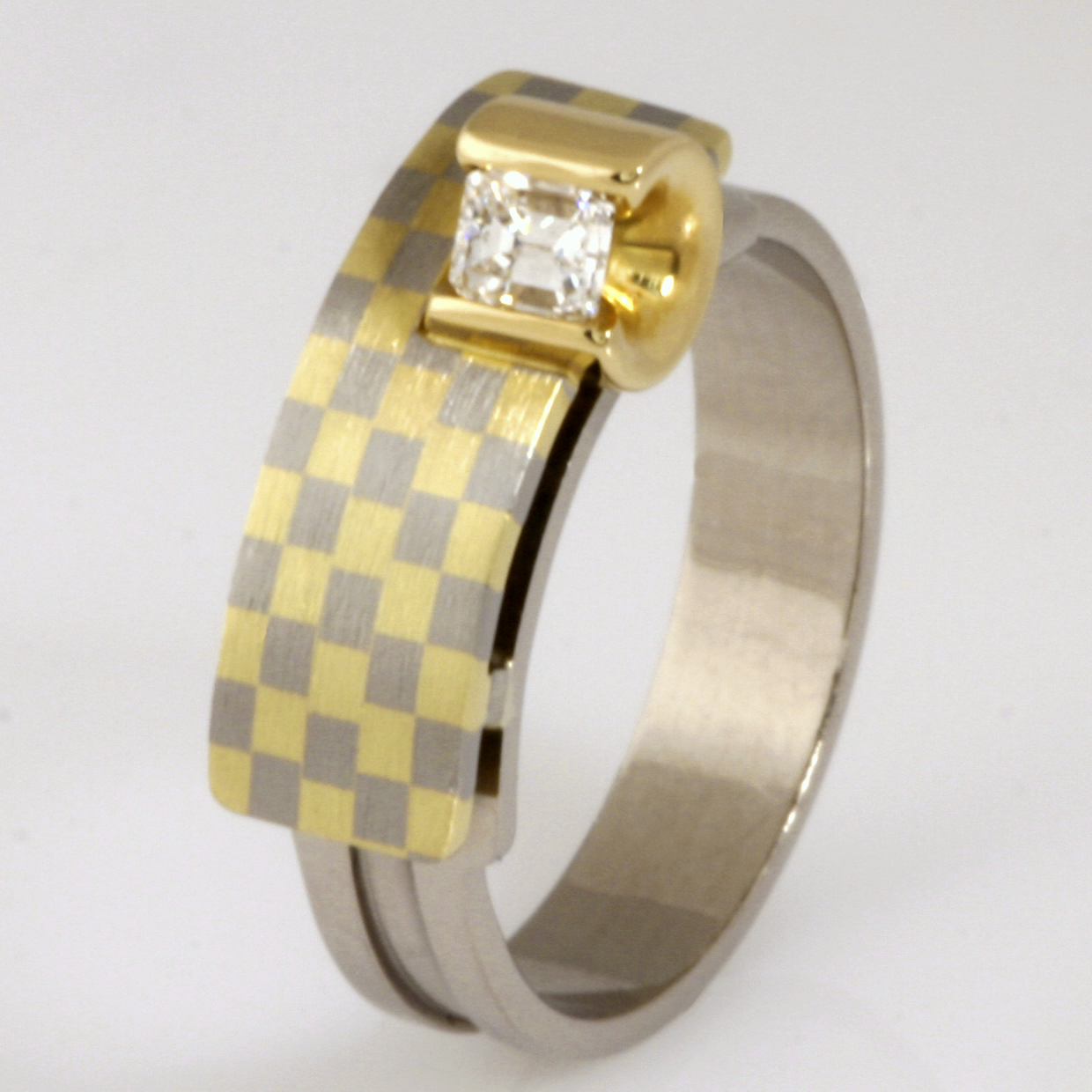 Handmade ladies 18ct yellow and white gold and Diamond 'Archie' design ring