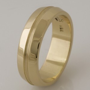 Handmade ladies 18ct yellow gold wedding ring