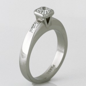 "Handmade ladies palladium ""Evolution"" cut diamond engagement ring."