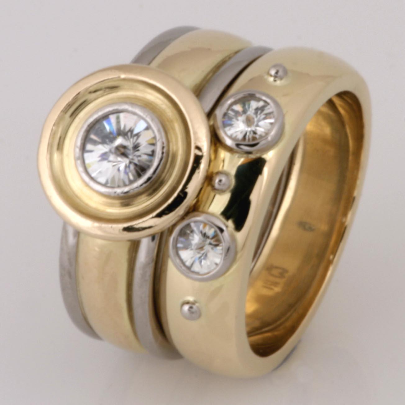 Handmade ladies 18ct yellow and white gold 'Sprit' cut diamond wedding set