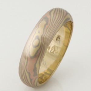 Handmade 18ct yellow, rose and white gold Mokume Gane gents wedding ring