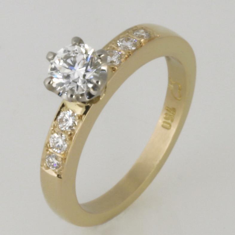Handmade ladies 18ct yellow and white gold diamond engagement ring