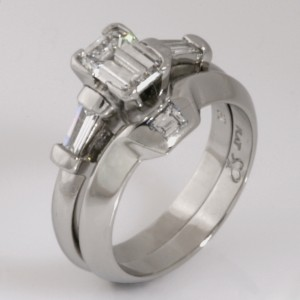 Handmade ladies platinum baguette diamond wedding ring