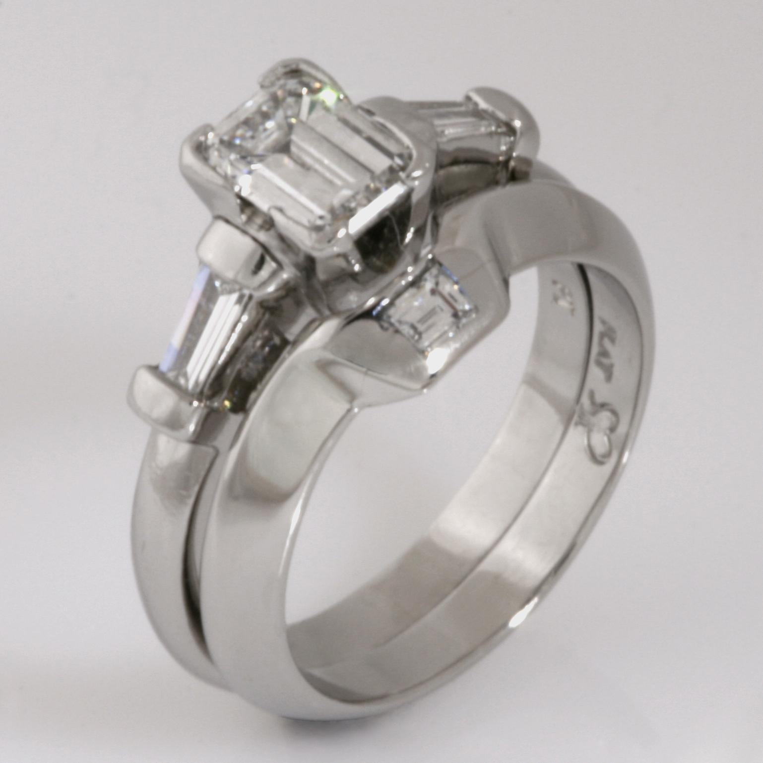 Handmade ladies platinum baguette diamond wedding ring