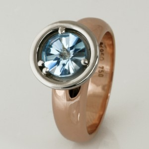 Handmade ladies 18ct rose gold and palladium 'Spirit' cut blue topaz engagement ring