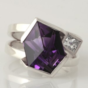 Handmade ladies 9ct white gold special cut Amethyst and diamond ring
