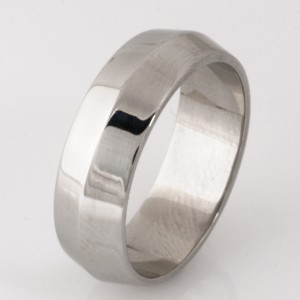 Handmade gents palladium wedding ring