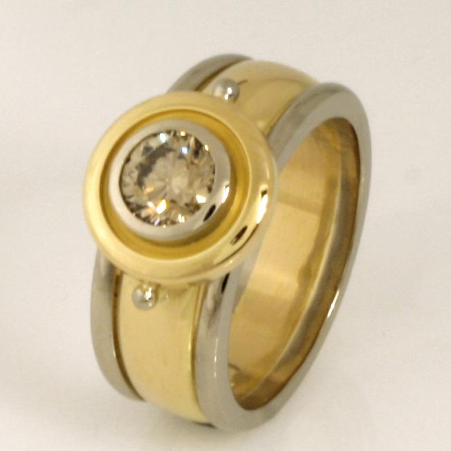 Handmade ladies 18ct yellow and white gold champagne diamond engagement ring