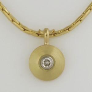 Handmade 18ct yellow gold and white gold diamond pendant