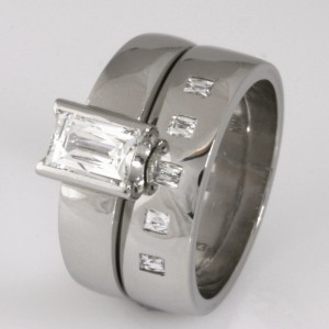 Handmade ladies palladium wedding ring set featuring 'Tycoon' cut diamonds