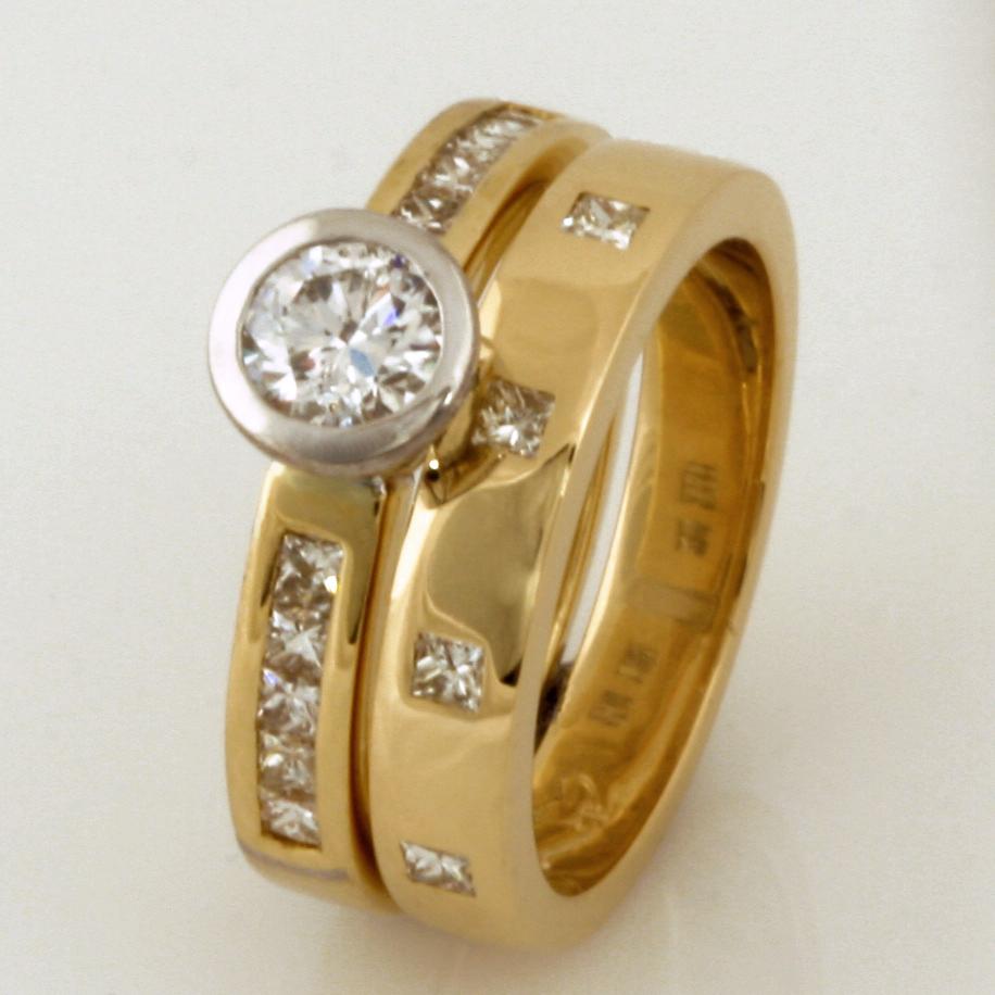 Handmade ladies 18ct yellow gold diamond engagement ring