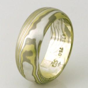 Handmade ladies 18ct green & white gold and sterling silver Mokume Gane wedding ring