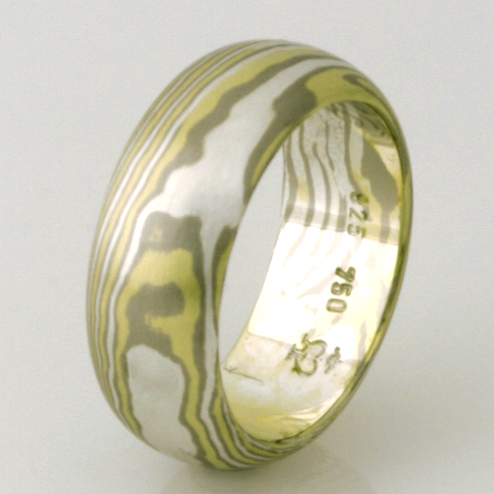 Handmade ladies 18ct green & white gold and sterling silver Mokume Gane wedding ring