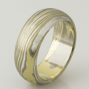 Handmade ladies 18ct green & white gold and sterling silver Mokume Gane ring