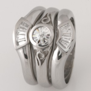 Handmade ladies palladium baguette diamond wedding rings