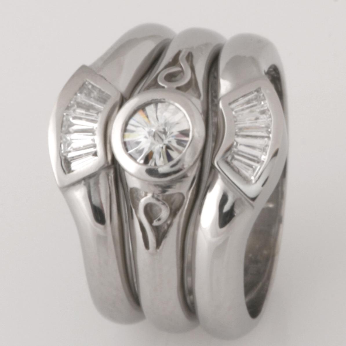 Handmade ladies palladium baguette diamond wedding rings