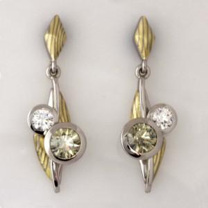 Handmade ladies 18ct green and white gold Mokume Gane and palladium earrings with Green and White 'EightStar' diamonds