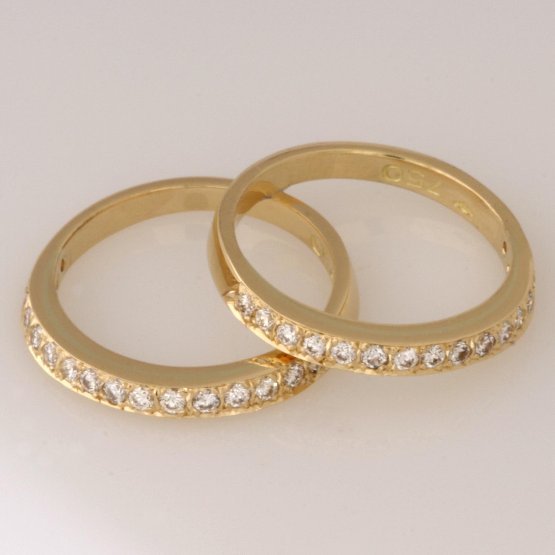 Handmade ladies 18ct yellow Gold diamond split wedding rings