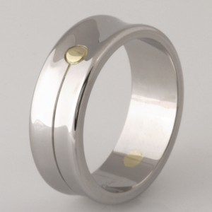 Handmade gents palladium and 18ct green gold wedding ring