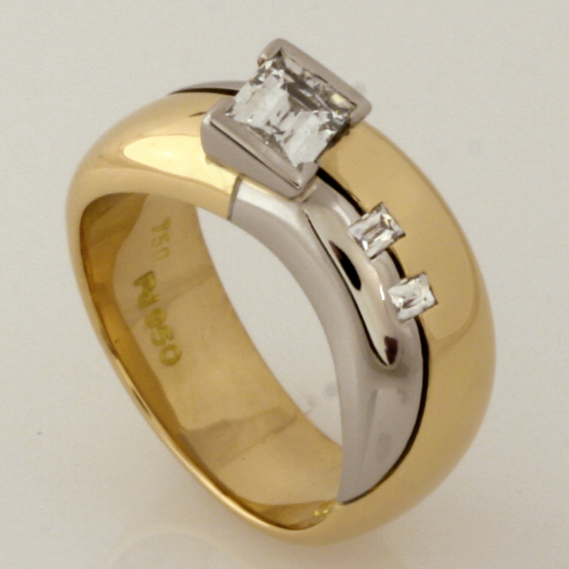 Handmade ladies 18ct yellow gold and palladium 'Tycoon' cut diamond engagement ring