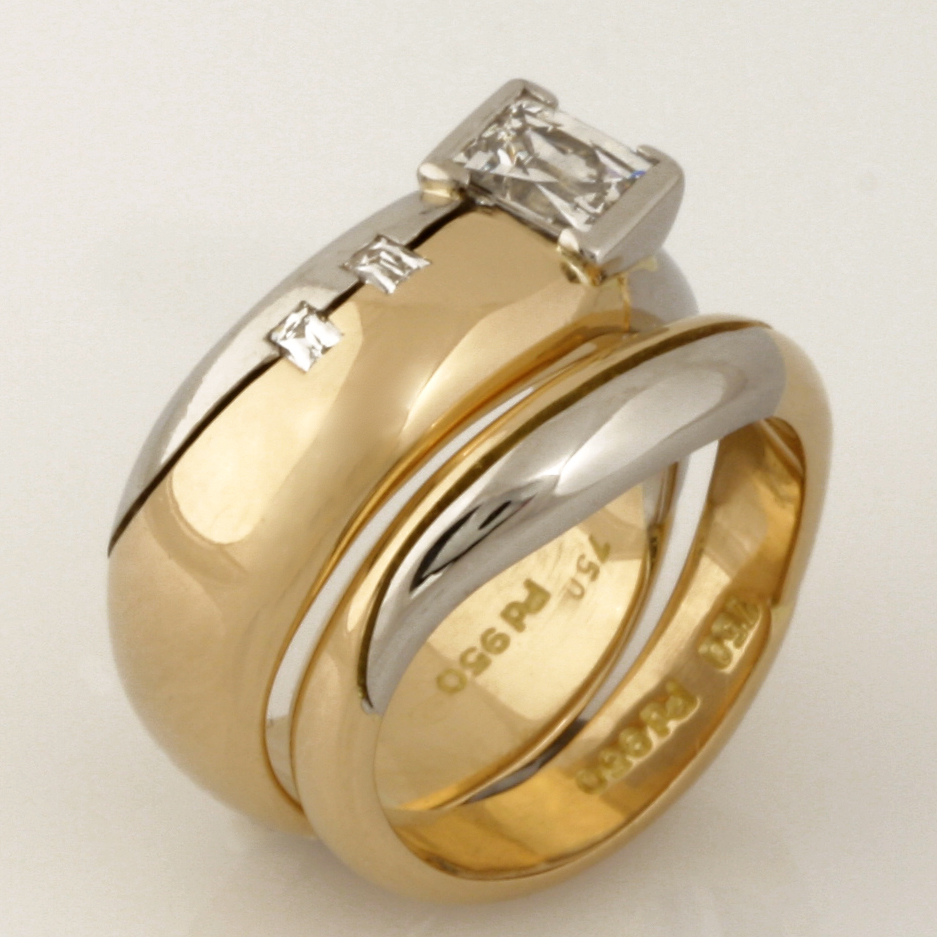Handmade ladies 18ct yellow gold and palladium fitted wedding set