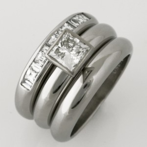 Handmade ladies palladium diamond engagement, wedding and eternity ring set