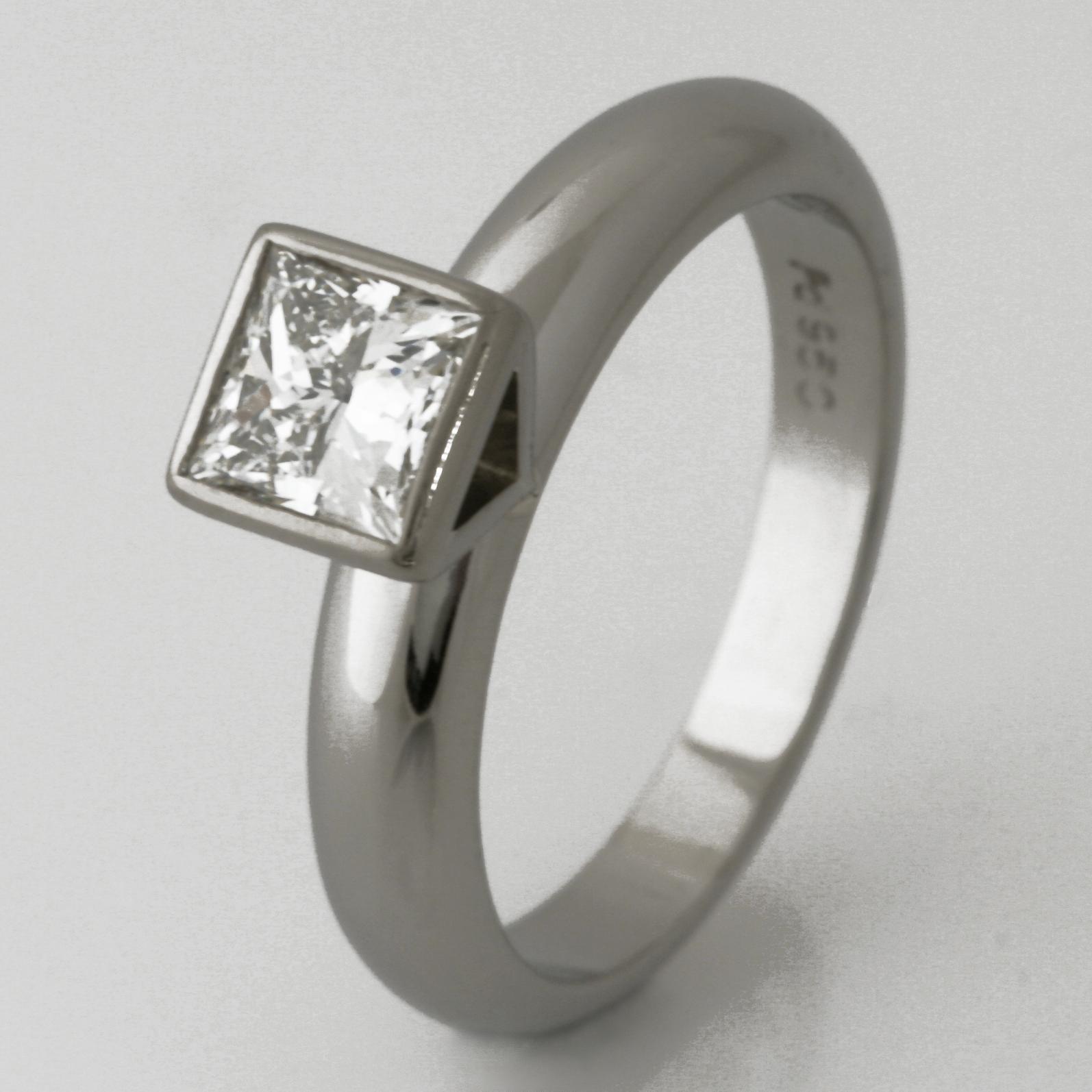 Handmade ladies palladium princess cut diamond engagement ring
