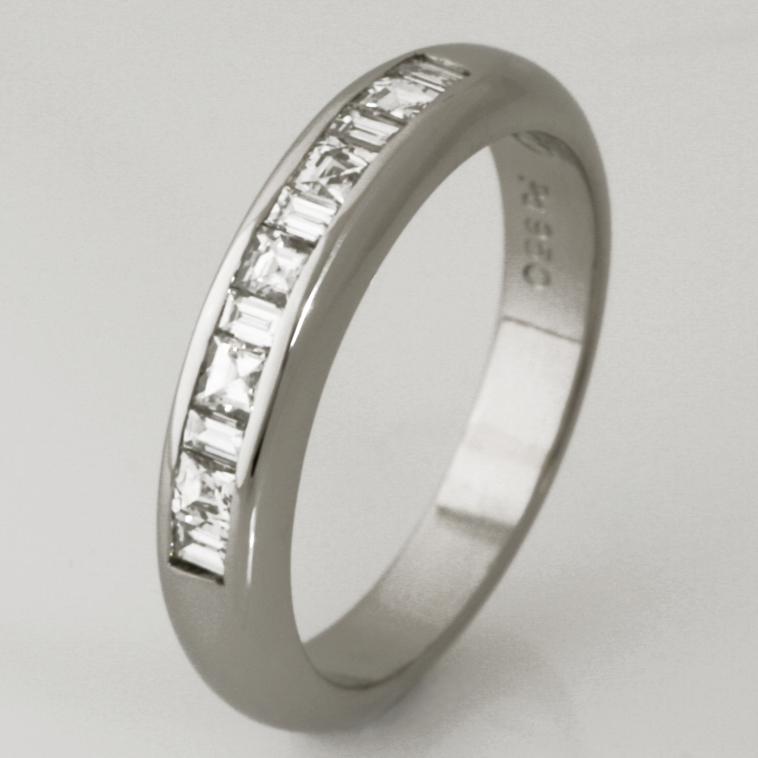 Handmade ladies palladium 'Tycoon' cut and baguette diamond eternity ring
